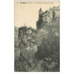 carte postale ancienne 82 BRUNIQUEL. Château et Roc Roland 1911
