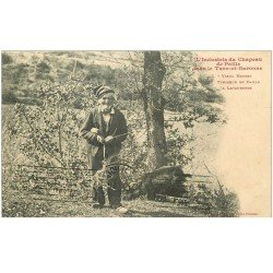 carte postale ancienne 82 LAVAURETTE. Vieux Berger Tresseur de Paille 1912 avec sa Chèvre. Vieux métiers artisanaux