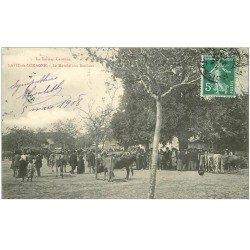 carte postale ancienne 82 LAVIT DE LOMAGNE. Le Marché aux Bestiaux 1908. Maquignons et Vaches