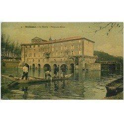 carte postale ancienne 82 MOISSAC. Le Moulin et la Pêche aux Aloses 1908. Pêcheurs et Poissons. Superbe carte toilée