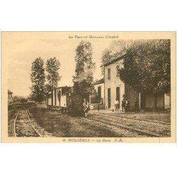 carte postale ancienne 82 MOLIERES. La Gare avec Train et Locomotive à vapeur animation