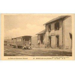 carte postale ancienne 82 MONCLAR-DE-QUERCY. La Gare avec Wagon comme habitation