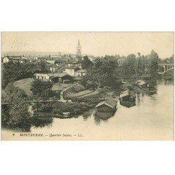 carte postale ancienne 82 MONTAUBAN. Bateau Lavoir Quartier Sapiac. Tampon militaire 1916