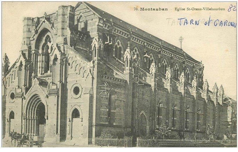 carte postale ancienne 82 MONTAUBAN. Eglise Saint-Orens Villebourbon avec attelage
