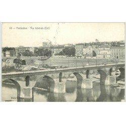 carte postale ancienne 82 MONTAUBAN. Vue générale et Pont vers 1904