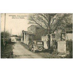 carte postale ancienne 82 SEPTFONDS. Voiture Traction avant devant la Caserne Rue de la Fontaine