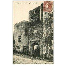 carte postale ancienne 82 VAREN. Porte fortifié de la Ville 1930