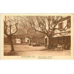 carte postale ancienne 83 CAVALAIRE-SUR-MER. Place de la Poste Café Tabac Plaisance