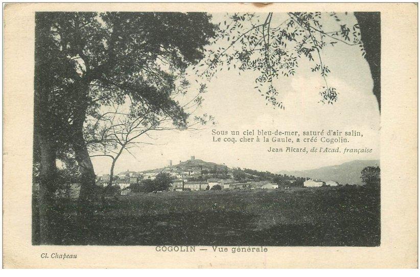 carte postale ancienne 83 COGOLIN. Le Village 1919