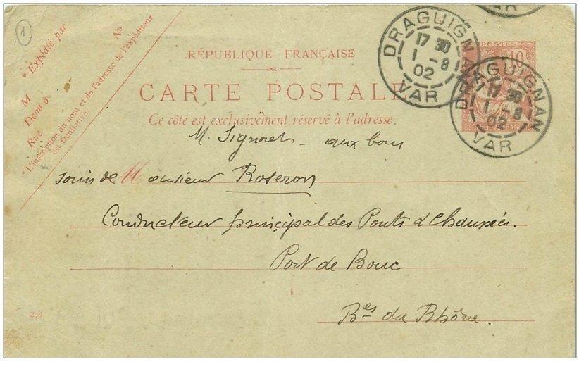 83 draguignan carte postale correspondance 1902 avec article de journal d coup et coll sur. Black Bedroom Furniture Sets. Home Design Ideas