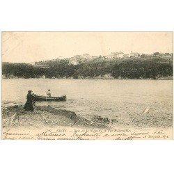 carte postale ancienne 83 GIENS. Baie de la Vignette 1906 avec Pêcheur en barque