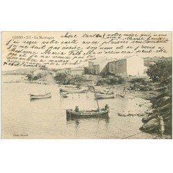 carte postale ancienne 83 GIENS. La Madrague avec jeunes Pêcheurs sur barque 1903