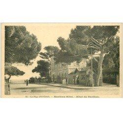 carte postale ancienne 83 HYERES. Maritima Hôtel et Hôtel du Pavillon avec Epicerie