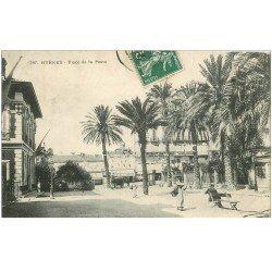 carte postale ancienne 83 HYERES. Place de la Poste 1909 Restaurant et Hôtel de Paris