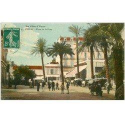 carte postale ancienne 83 HYERES. Place de la Poste colorisée