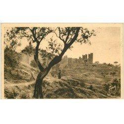 carte postale ancienne 83 HYERES. Vieux Château à travers les Oliviers 1947