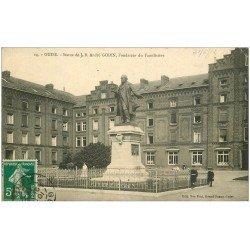 carte postale ancienne 02 GUISE. Statue de Godin. Familistère 1912