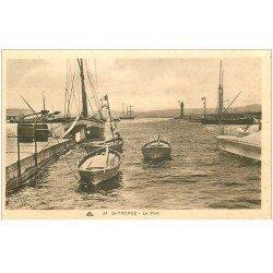 carte postale ancienne 83 SAINT-TROPEZ. Le Port barques et bateaux de Pêches