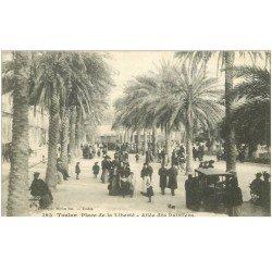 carte postale ancienne 83 TOULON. Allée des Palmiers et Place de la Liberté avec Cariole