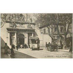 carte postale ancienne 83 TOULON. Arsenal Tramway et Fiacre 1911