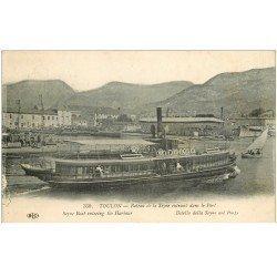carte postale ancienne 83 TOULON. Bateau de la Seyne entrant au Port. Tampon Service Postal dépôt Equipages de la Flotte