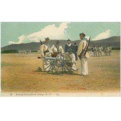 carte postale ancienne 83 TOULON. Exercice d'une pièce de motage 65 mm Canon et Militaires 1915