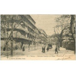 carte postale ancienne 83 TOULON. la Gare Avenue Vauban tramway Byrrh 1903