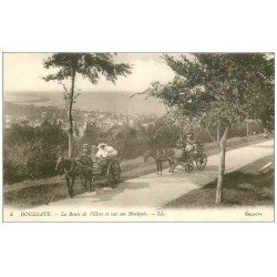 carte postale ancienne 14 HOULGATE. Attelages Route de Villers