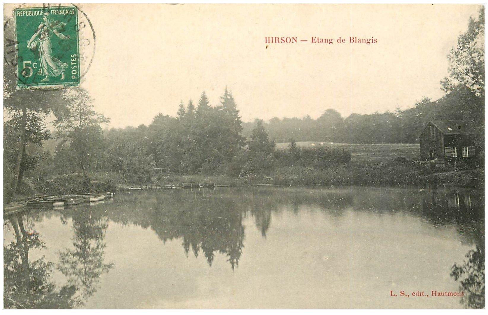 carte postale ancienne 02 HIRSON. Etang de Blangis 1914