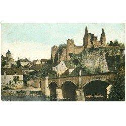 carte postale ancienne 86 ANGLES SUR L'ANGLIN. Château Féodal et Pont sur la Vienne