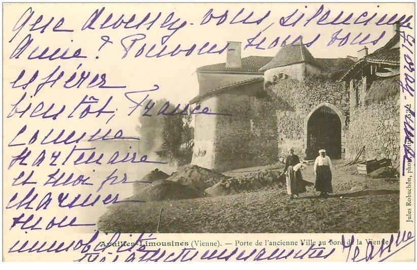 86 availles limouzine limousines porte ancienne ville 1903 for Porte carte postale sur pied