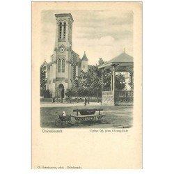 carte postale ancienne 86 CHATELLERAULT. Eglise Saint Jean Evangéliste vers 1900 et Kiosque à musique