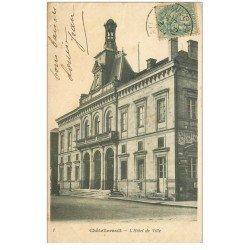 carte postale ancienne 86 CHATELLERAULT. Hôtel de Ville 1906 affiches Byrrh et Singer