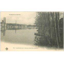 carte postale ancienne 86 CHATELLERAULT. Usines bords de la Vienne vers 1900