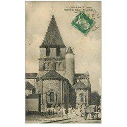 carte postale ancienne 86 CHAUVIGNY. Tailleurs de Pierres au chevet Eglise Notre Dame 1924 Vieux Métiers