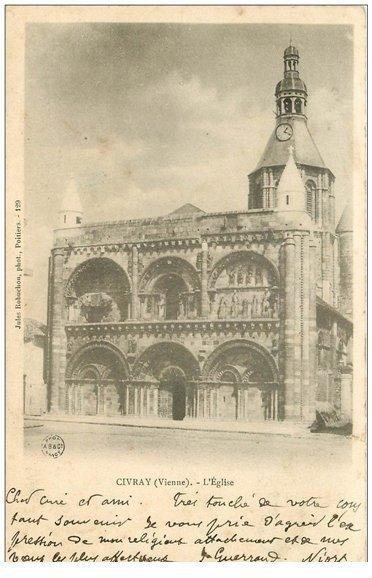 carte postale ancienne 86 CIVRAY. Eglise 1906