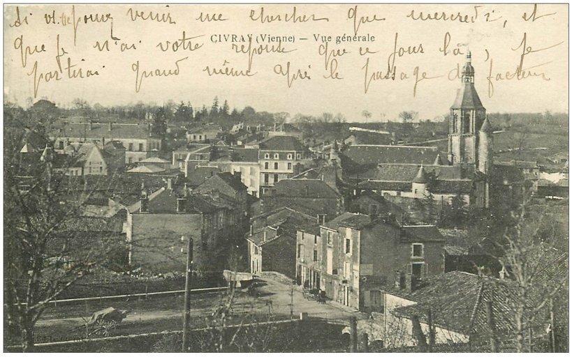 carte postale ancienne 86 CIVRAY. La Ville vers 1919