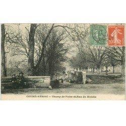 carte postale ancienne 86 COUHE VERAC. Champ de Foire et Rue du Moulin 1921 Commune de Ceaux