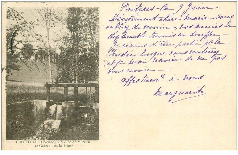 86 CIVAUX. Laveuse à la Font Chrétien 1907 souvenir de Clovis. Carte référendum du Journal le Petit Parisien Paris 10