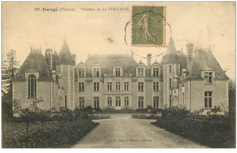 carte postale ancienne 86 DANGE SAINT ROMAIN. Château de la Fontaine 1917