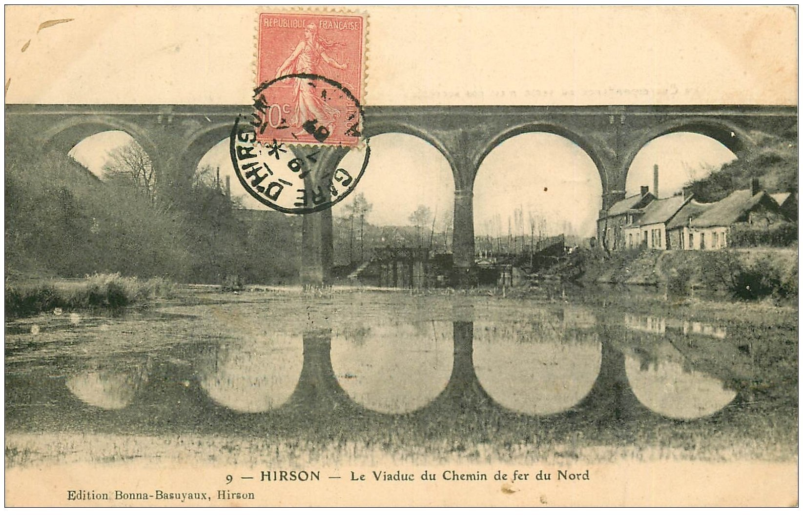 carte postale ancienne 02 HIRSON. Le Viaduc du Chemin de Fer 1907