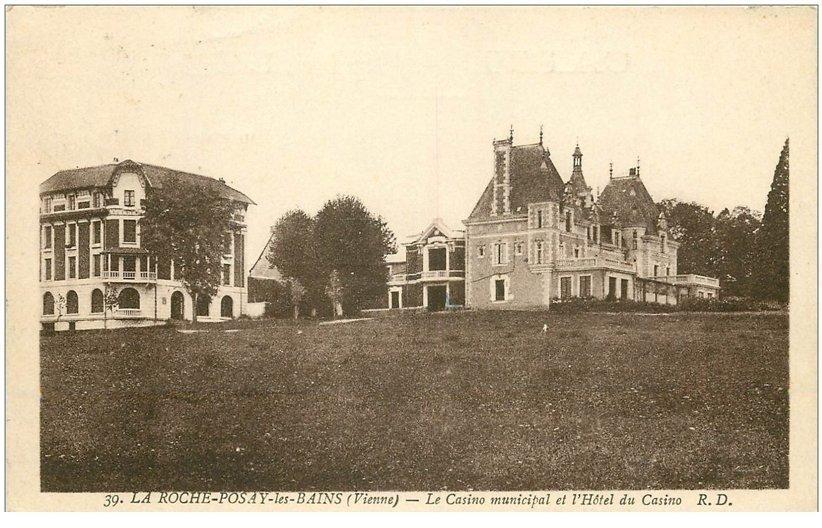 carte postale ancienne 86 LA ROCHE POSAY LES BAINS. Casino et Hôtel 1945