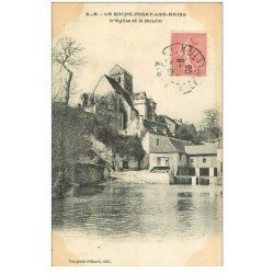 carte postale ancienne 86 LA ROCHE POSAY LES BAINS. Eglise et Moulin 1906