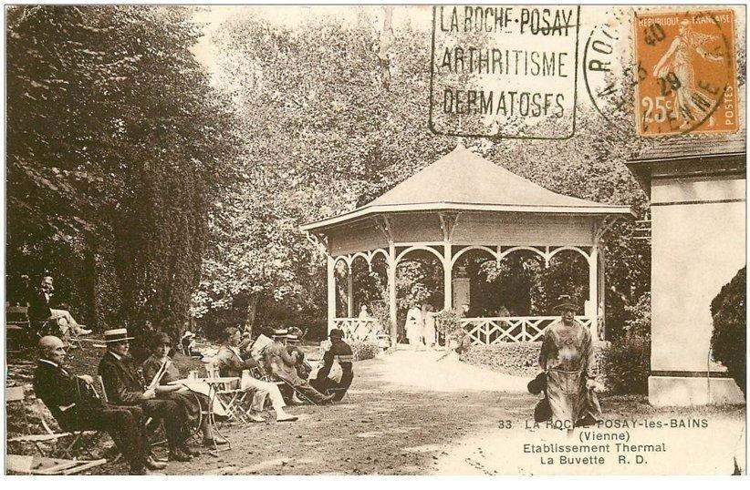 carte postale ancienne 86 LA ROCHE POSAY LES BAINS. La Buvette etablissement Thermal 1929
