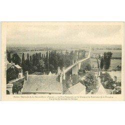 carte postale ancienne 86 LA ROCHE POSAY. Pont suspendu sur la Creuse