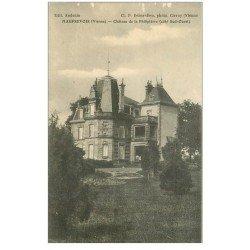 86 LIGUGE. Abbaye Saint Martin Prêtre Porte Eglise Abbatial. Fiche collée verso Premier Timbre photocopié 1903