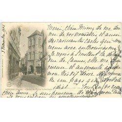carte postale ancienne 86 POITIERS. Carte Pionnière 1901 Clocher Eglise Saint Porchaire et Imprimerie