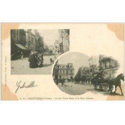 carte postale ancienne 86 POITIERS. Carte Pionnière 1903 Rue Victor Hugo et Place Armes attelage militaire