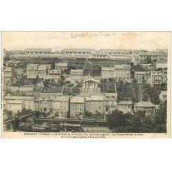 carte postale ancienne 86 POITIERS. Caserne Logerot Passerelle sur la Gare Coteau de la Roche. Tampon militaire 1917