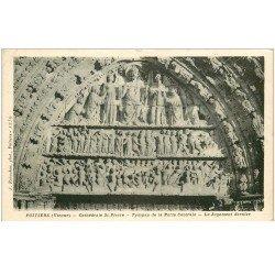 carte postale ancienne 86 POITIERS. Cathédrale Saint Pierre Tympan Porte Centrals Jugement Dernier vers 1940